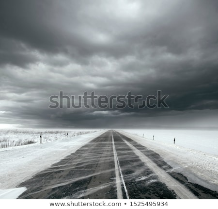 Stormy sky and snow road Stock photo © leedsn