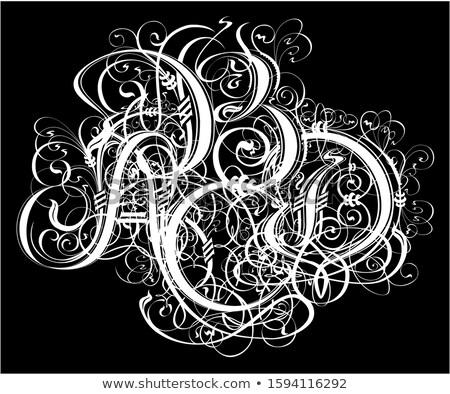 Gótico abstrato caligrafia tatuagem tshirt projeto Foto stock © mechanik