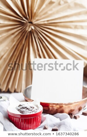 Chocolade muffins Rood witte Stockfoto © user_15523892