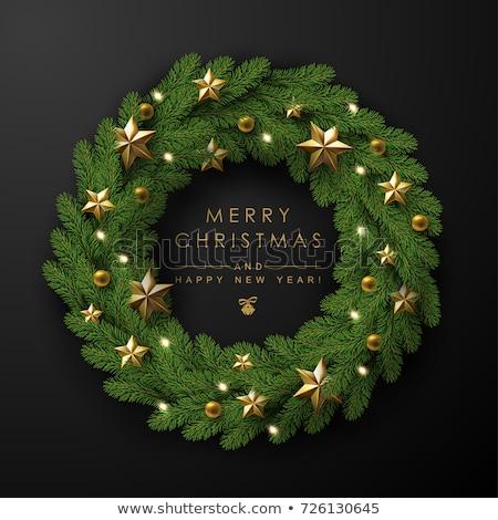 koszorú · díszített · karácsony · levél · háttér · piros - stock fotó © Clivia