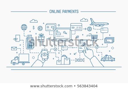 çevrimiçi taksi ödeme ikon vektör ince Stok fotoğraf © pikepicture