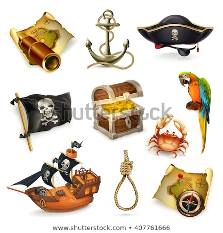 Vector Old Pirate Chest with Parrot Stock photo © dashadima