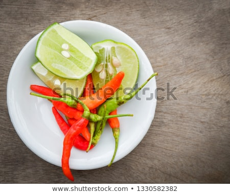 Traditional Thai cuisine. Thai noodles with lime and seasonings Stock photo © ElenaBatkova