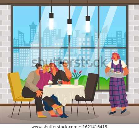 Friends Taking Selfie in Cafe, Waiter with Order Stock photo © robuart
