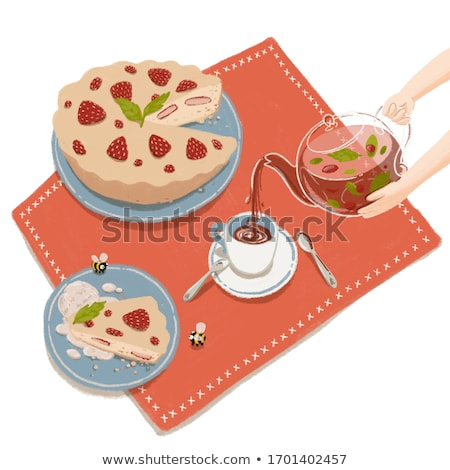 Stockfoto: Cartoon Teapot Held By Hands Pouring Herbal Berry Tea In Cup