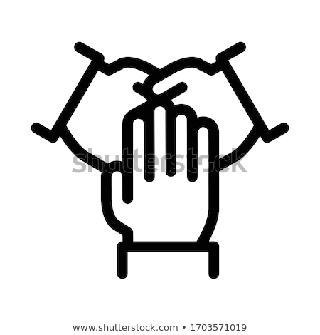 triple handshake icon vector outline illustration Stock photo © pikepicture