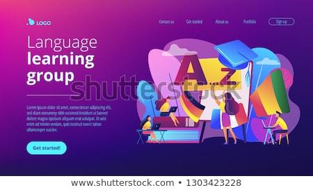 Buitenlands taal workshop landing pagina studenten Stockfoto © RAStudio