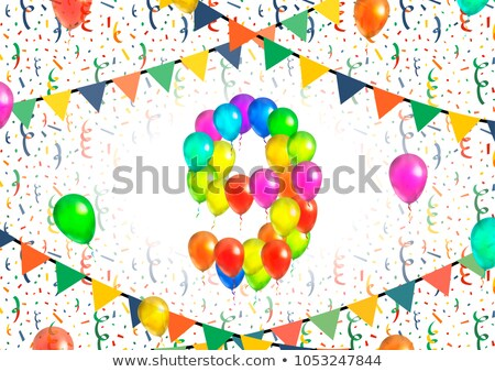 Number nine made up from colorful balloons on white background with confetti Stock photo © evgeny89
