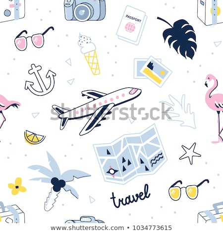 Summer traveling stickers seamless pattern Stock photo © barsrsind