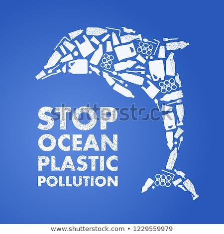 środowiska zanieczyszczenia ilustracja Delfin wektora ocean Zdjęcia stock © leedsn