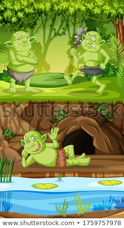 Goblins or trolls with cave forest house in cartoon style Stock photo © bluering