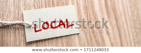 BUY LOCAL label shopping store banner wood texture background. Support small local shops businesses  Stock photo © Maridav