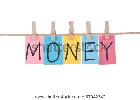 Money, Colorful words hang on rope by wooden peg stock photo © Ansonstock