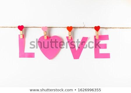 Szeretet fából készült szeg színes szavak kötél Stock fotó © Ansonstock