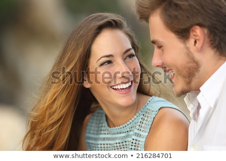 young teen couple with beautiful smiles and teeth stock photo © godfer