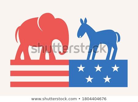 political elephant and donkey vector cartoon stock photo © chromaco