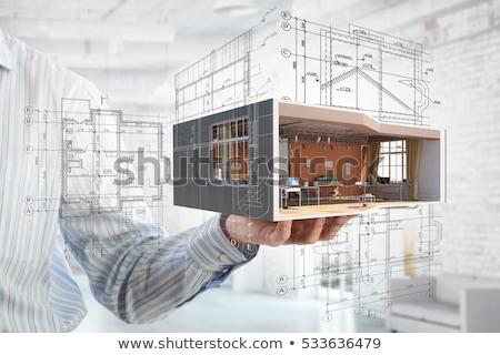 Ház projekt terv épület legelő kéz Stock fotó © jordygraph
