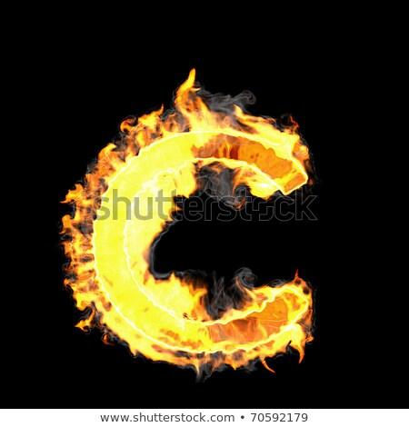 Burning And Flame Font C Letter Stok fotoğraf © Arsgera