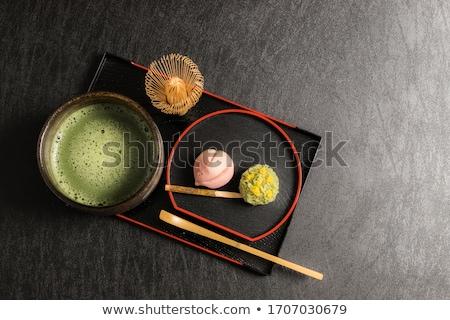 Сток-фото: Японский · конфеты · чай · чайник · пластина · изолированный
