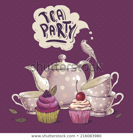summer afternoon tea time party invitation card stock photo © meikis