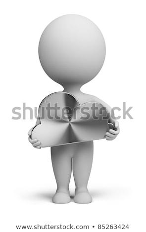 3D kicsi emberek acél felhő személy Stock fotó © AnatolyM