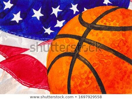 Basket giocatori bandiera americana design fitness sport Foto d'archivio © nezezon
