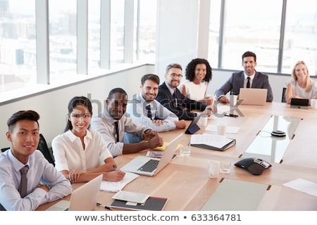 business group meeting portrait   eight business people working stock photo © dacasdo