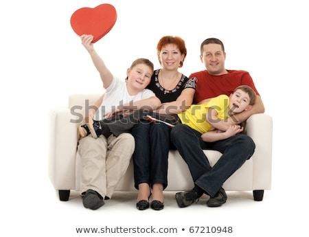 家族 · ソファ · 手 · 赤 · 装飾的な · 中心 - ストックフォト © RuslanOmega