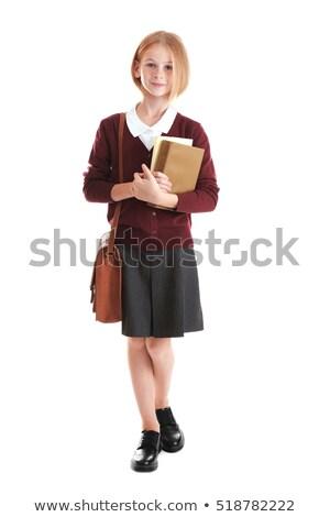 Photo stock: Secondaire · éducation · joli · fille · uniforme · scolaire · heureux