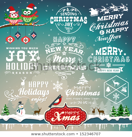 retro christmas background with collection of icons stock photo © marish