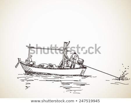 Photo stock: Pêcheur · longtemps · queue · bateau · beauté · navire