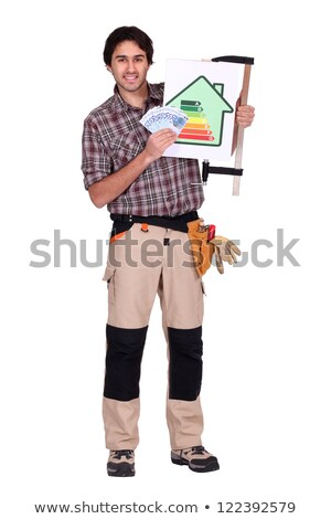 Electricista pie estudio banco notas negocios Foto stock © photography33