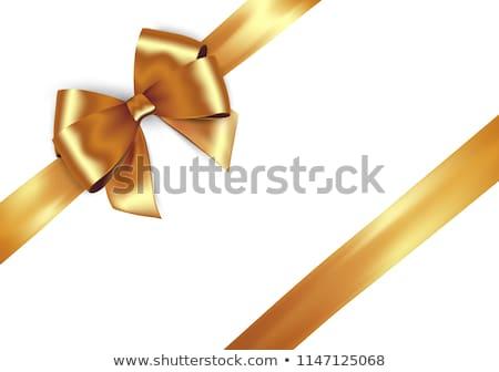 Rood · goud · geschenk · boeg · vector · lint - stockfoto © thomasamby