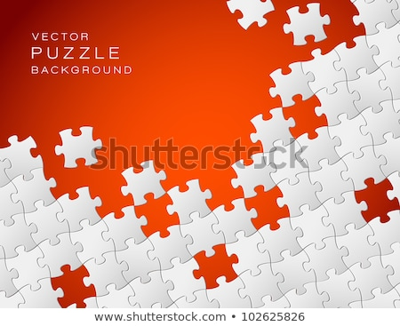 Vector red background made from white puzzle pieces stock photo © orson