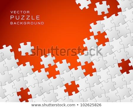 Vektor piros fehér kirakó darabok absztrakt hely Stock fotó © orson
