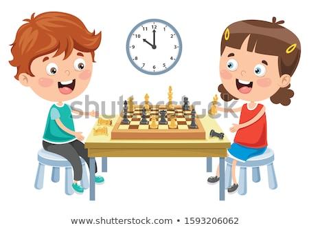 Kislány játszik sakk kéz otthon fiatal Stock fotó © photography33