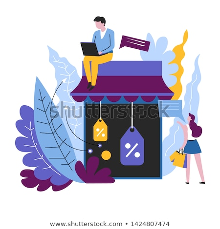 Business woman holding laptop and Percent symbol, vector  Stock photo © carodi