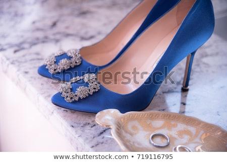 Algo azul retrato misterioso rubio broche Foto stock © dolgachov