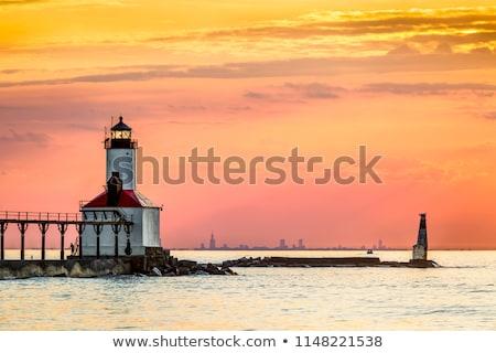 灯台 太陽 ミシガン州 市 ヨット 地平線 ストックフォト © Kenneth_Keifer