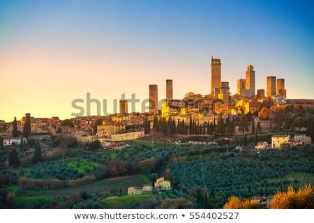 Ufuk çizgisi Toskana İtalya gökyüzü şehir manzara Stok fotoğraf © fisfra