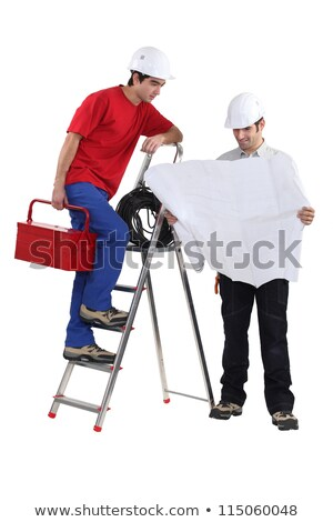 architect unfolding blueprints and electrician on ladder Stock photo © photography33