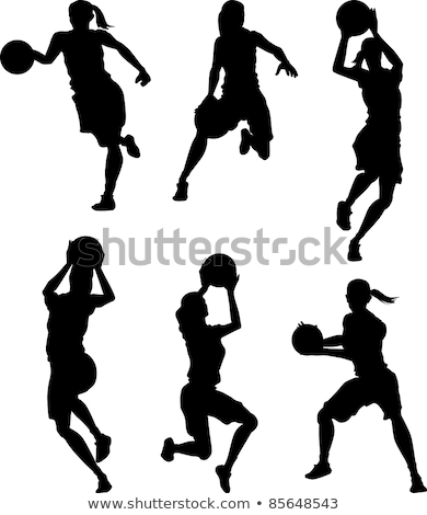 Basketball Female Women Silhouettes Stock foto © ChromaCo