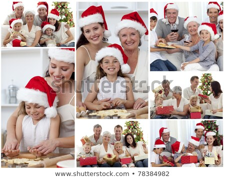 Stock fotó: Collage Of Families Enjoying Celebration Moments Together At Home