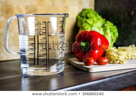 çeyrek litre ölçmek pirinç beyaz gıda Stok fotoğraf © MiroNovak