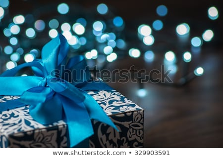 Holly With Christmas Blue Ribbon Stock photo © Lightsource