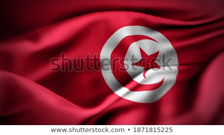 kumaş · doku · bayrak · Tunus · mavi · yay - stok fotoğraf © maxmitzu