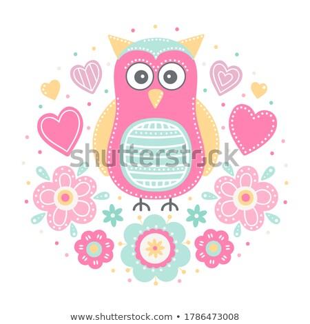 Sweet мало розовый совы дизайна фон Сток-фото © popocorn