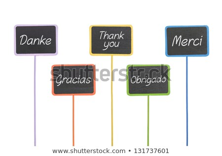 wooden signs with the text thank you in different languages stock photo © zerbor