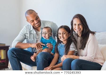 Família africano pai caucasiano filha Foto stock © lunamarina