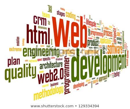 ストックフォト: ウェブ · 開発 · 言葉 · 赤 · 色